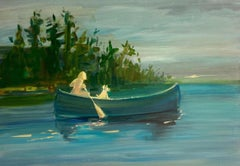 """Mirror Lake"" - a nude woman and her dog in a canoe paddling on a calm lake."
