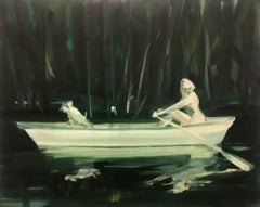 """Night Rower 3"" Neo-expressionist oil on canvas"