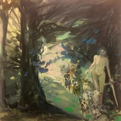 """Shaded"" Female nude walking in a forest with dogs"