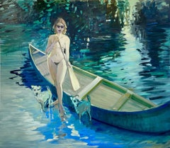 """The Paddler"" - figurative nude, oil on canvas"