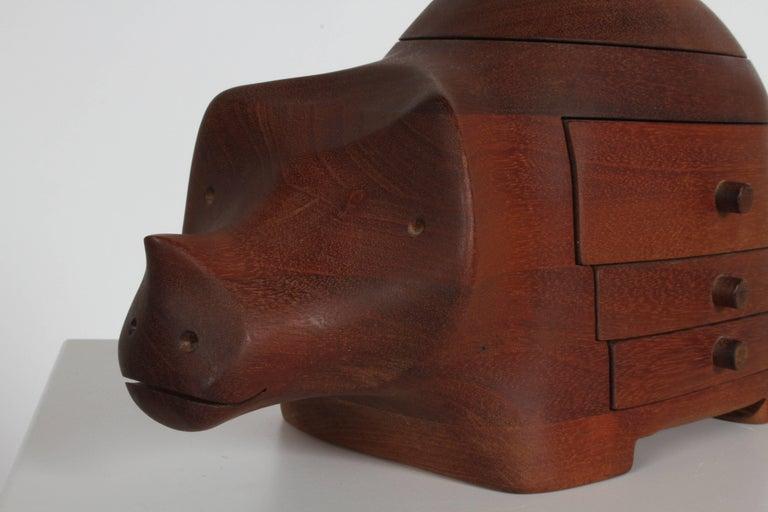 American Deborah D. Bump Rhino Jewelry Trinket Box For Sale
