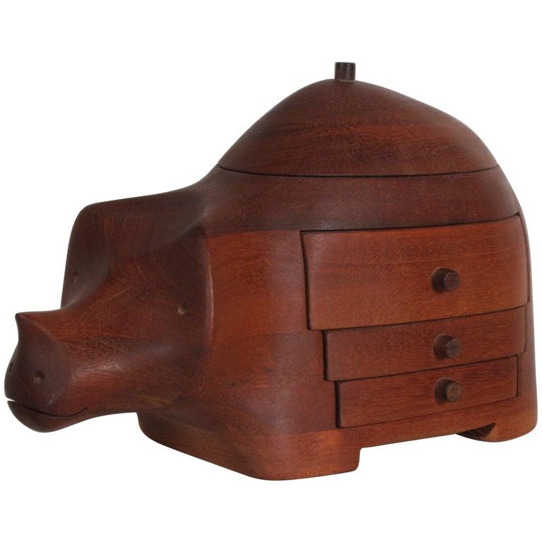 Deborah D. Bump Rhino Jewelry Trinket Box For Sale