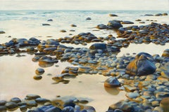 Song of Stones, Rocky Beach of Northern Michigan, Original Oil on Canvas