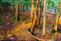 Sunset, Late Afternoon Sun Casting Light onto Wooded Area, Original Oil Painting