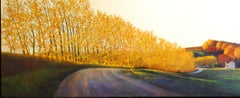 The Color of Home, Original Oil Painting, Glowing Autumn Foliage on Country Road