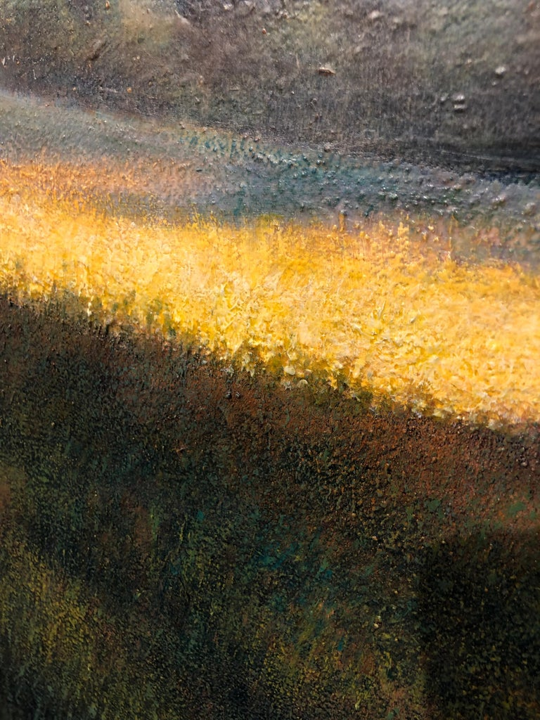 The Lifting Veil - Original Oil on Canvas Painting of Mist Hovering Over a Field 5
