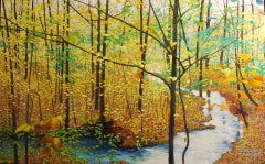 The Turning - Original Oil Painting of Stream and Trees with Leaf Covered Forest