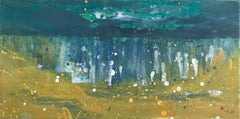 A Better World 19, yellow and teal oil painting of ocean waves, abstract water