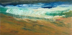 A Better World 21, yellow and teal oil painting of ocean waves, abstract water