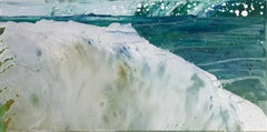 A Better World 22, white and blue oil painting of ocean waves, abstract water