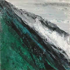 A Better World 26, white and blue oil painting of ocean waves, abstract water