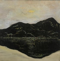Ashokan Dreams, black and beige oil painting on canvas, mountain