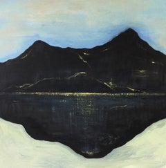 Good Night Irene 3, blue and black oil painting of mountain-scape