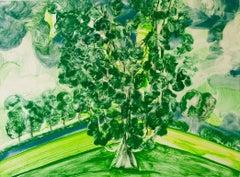 """Hyde Park 4"", painterly abstract tree monoprint, greens, yellows, blues."