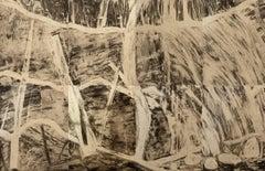 Waterfall Suite/Cream, modern etching print, waterfall, graphite, cream paper