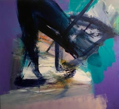 Anchored: Large, Abstract Painting on Canvas in Purples and Blues