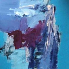 Antibes: Abstract Painting in Blues and Purples by Deborah Lanyon