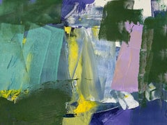 Closer: Yellow, Green and Pink Abstract Painting on Canvas by Deborah Lanyon