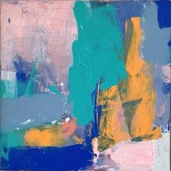 Crete: Abstract Painting by Deborah Lanyon with pink and blue