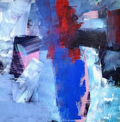 Flight: Abstract Painting by Deborah Lanyon with red and blue