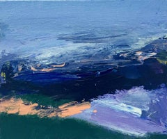 For George: Small, Abstract, Gestural Painting in Blues by Deborah Lanyon
