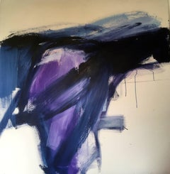 Hawkshead: Abstract Painting in Purple with Raw Canvas by Deborah Lanyon