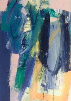 Kew Series II: Large, Abstract, Gestural Painting in Blues, Oranges and Green
