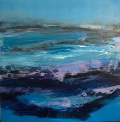 Lake Windermere: Abstract Painting in Blues and Purples by Deborah Lanyon