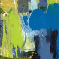 Le Jardin de la Medina: Abstract Painting by Deborah Lanyon with lime and blue