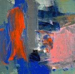 Leave Me: Abstract Painting by Deborah Lanyon with orange and blue
