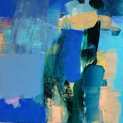 Marrakech: Abstract Painting by Deborah Lanyon with gold and blue