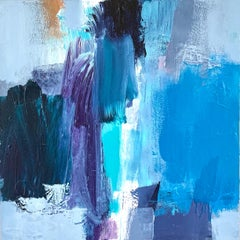 Rain: Blue Abstract Painting by Deborah Lanyon