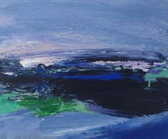 Salcombe Harbour: Small, Abstract, Gestural Painting in blue by Deborah Lanyon