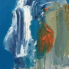 Shape of Water: Abstract, Gestural Painting in Blue/Orange by Deborah Lanyon