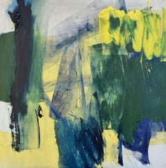 Shine: Green, Yellow and Blue Abstract Painting on Canvas by Deborah Lanyon
