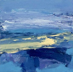 Southsands: Small, Abstract, Gestural Painting in Blues and Yellows