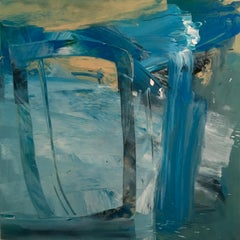 Swan: Blue Abstract Painting by Deborah Lanyon