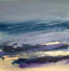 Winchelsea: Abstract Coastal Painting in Blues and Purples by Deborah Lanyon