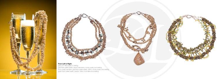 Deborah Liebman Peridot Citrine Tourmaline Pearl Multi-Strand Necklace In New Condition For Sale In Kansas City, MO