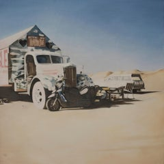 "DEBORAH MARTIN, ""Repent Now"", oil on canvas, pick up truck & motorcycle painting"