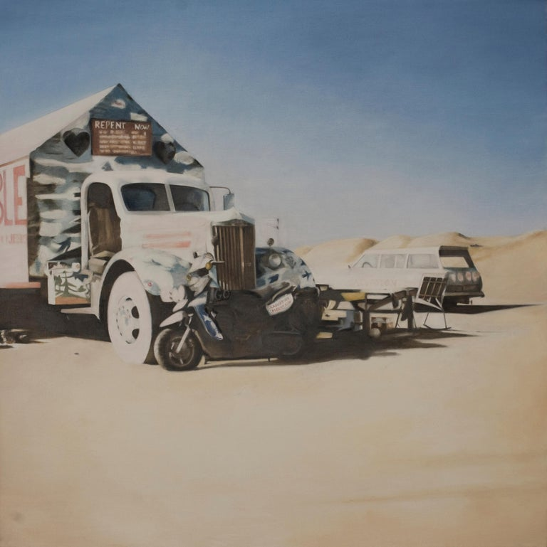 "Deborah Martin Figurative Painting - DEBORAH MARTIN, ""Repent Now"", oil on canvas, pick up truck & motorcycle painting"