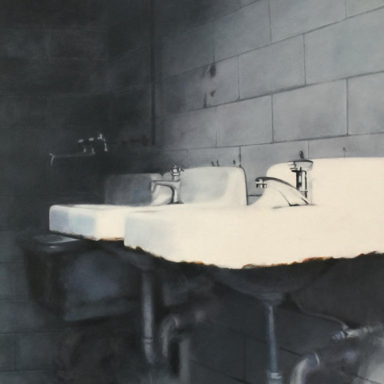 "Deborah Martin Interior Painting - DEBORAH MARTIN, ""The Sinks"", oil on canvas, contemporary realist painting"