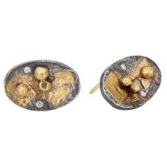 Deborah Meyers Contemporary Mixed Metal Sterling Gold Diamond Stud Earrings