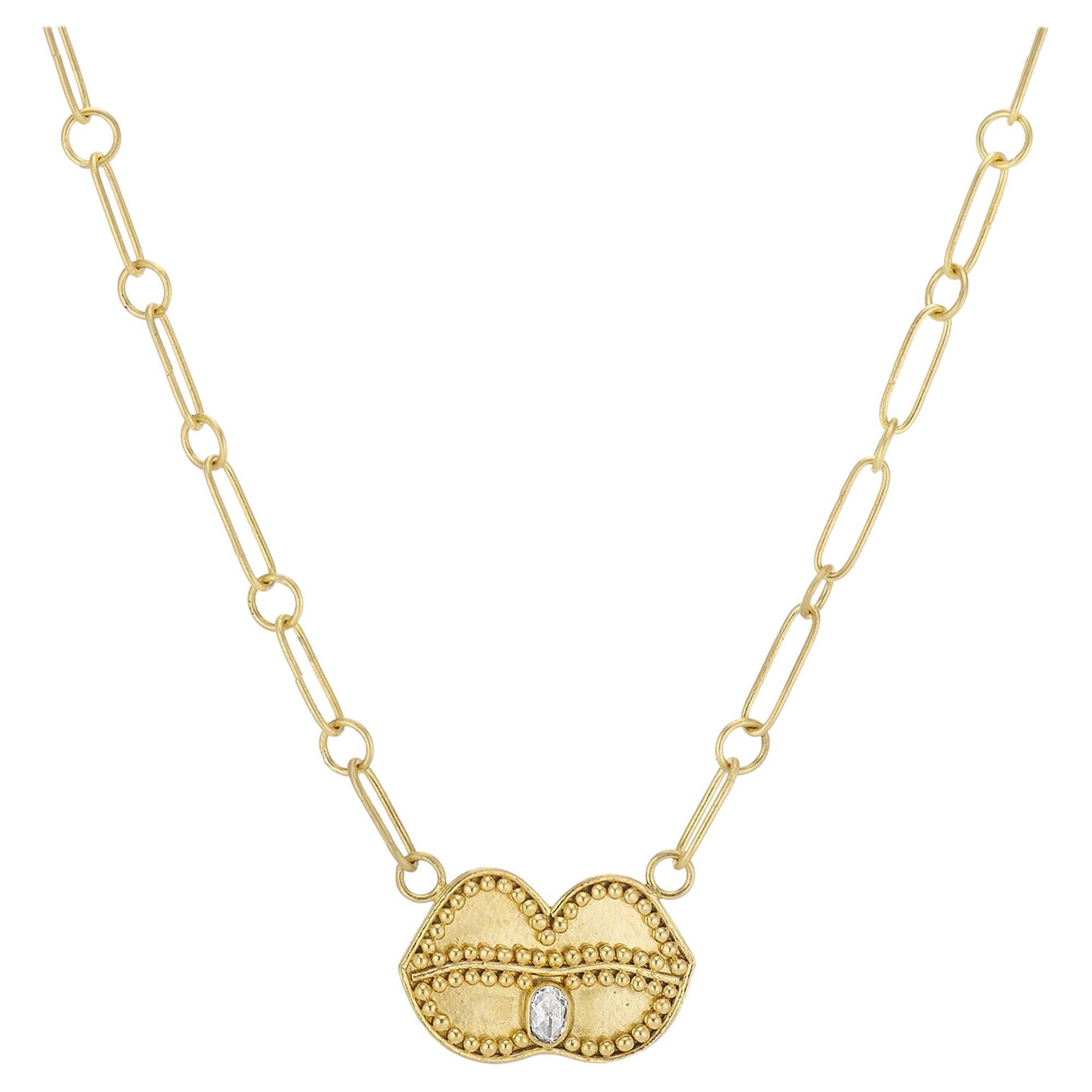 Deborah Meyers Experience 22 Karat Gold Granulated Lips with Rose Cut Diamond
