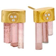 Deborah Meyers Experience Pink Tourmaline Crystal Diamond and Gold Drop Earrings