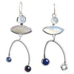 Deborah Murdoch 18 Karat Gold Opal Asymmetrical Drop Earrings