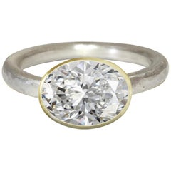 Deborah Murdoch 18 Karat White and Yellow Gold Oval 2.5 Carat Diamond Ring