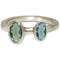 Deborah Murdoch 18 Karat White Gold Blue or Green Tourmaline Cocktail Ring