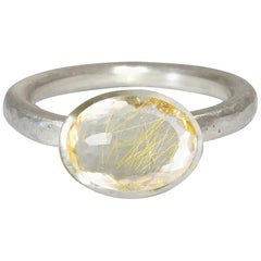 Deborah Murdoch 18 Karat White Gold Oval Rutilated Quartz Cocktail Ring