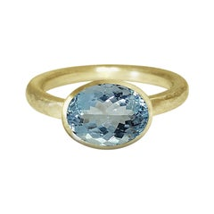 Deborah Murdoch 18 Karat Yellow Gold 2.86 Carat Oval Aquamarine Cocktail Ring